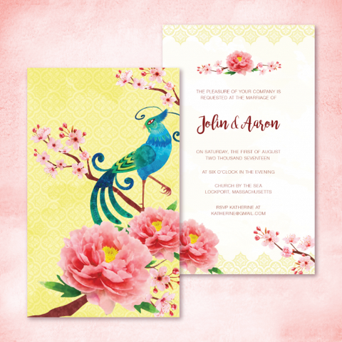 c039deb1d299e0 Oriental Elegance Phoenix and Peony Personalised Wedding Invitation Card -  AUSTRALIAN FAVORS