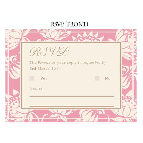 Olivia Classic Floral RSVP Reply Response Card Wedding Stationery - AUSTRALIAN FAVORS
