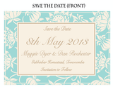 Olivia Classic Floral Save The Date Card Wedding Stationery - AUSTRALIAN FAVORS