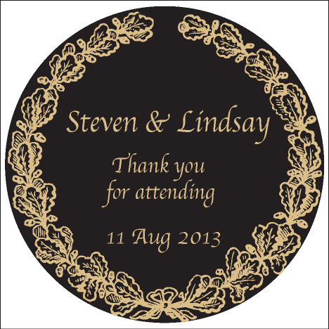 Gold Wreath Wedding Personalised Thank You Favour Round Sticker