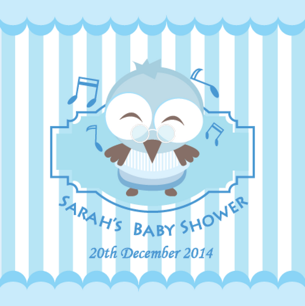 Owl Baby Shower Personalised Party Favour Tag & Sticker Label - Blue - AUSTRALIAN FAVORS