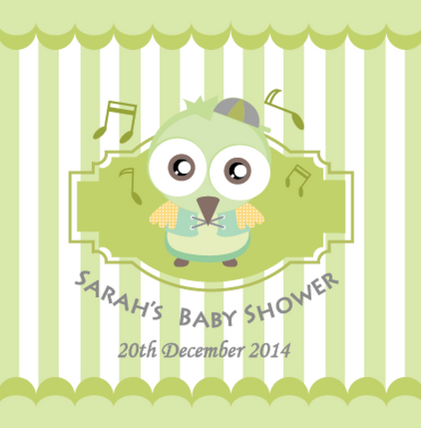 Owl Baby Shower Personalised Party Favour Tag & Sticker Label - Green - AUSTRALIAN FAVORS