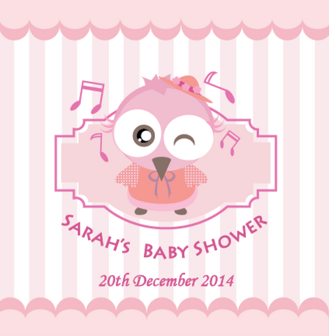 Owl Baby Shower Personalised Party Favour Tag & Sticker Label - Pink - AUSTRALIAN FAVORS