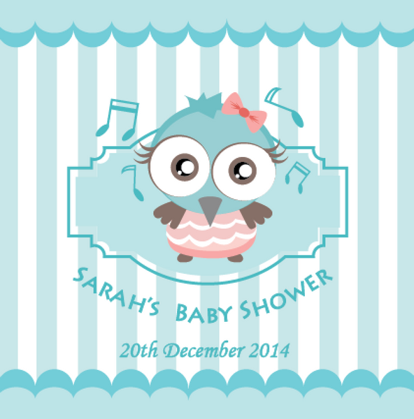 Owl Baby Shower Personalised Party Favour Tag & Sticker Label - Teal Blue - AUSTRALIAN FAVORS