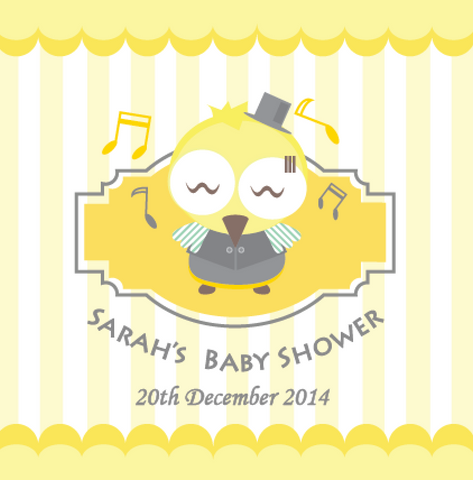 Owl Baby Shower Personalised Party Favour Tag & Sticker Label - Yellow - AUSTRALIAN FAVORS
