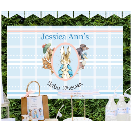 Peter Rabbit: Pastel Personalised Giant Party Banner First Birthday Party Decoration - AUSTRALIAN FAVORS