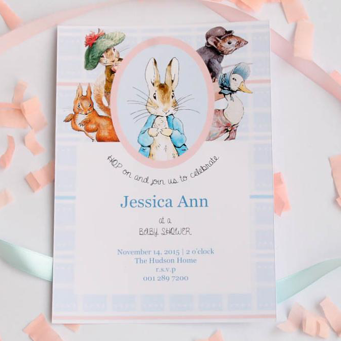 Peter Rabbit Pastel Personalised Baby Shower Invitation Card
