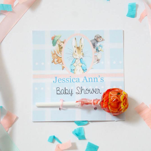Peter Rabbit: Pastel Personalised Chupa Chups Lollipops Baby Shower Favours - AUSTRALIAN FAVORS