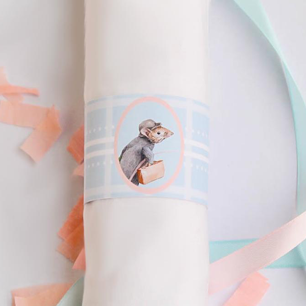 Peter Rabbit: Pastel Personalised Baby Shower 1st Birthday Party Supplies Napkin Band - AUSTRALIAN FAVORS