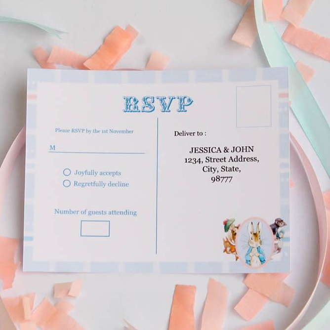 Pastel Personalized Girl Baby Shower Party RSVP Card