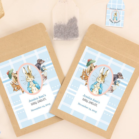 Peter Rabbit: Pastel Baby Shower Personalised Tea Bag Favour - AUSTRALIAN FAVORS