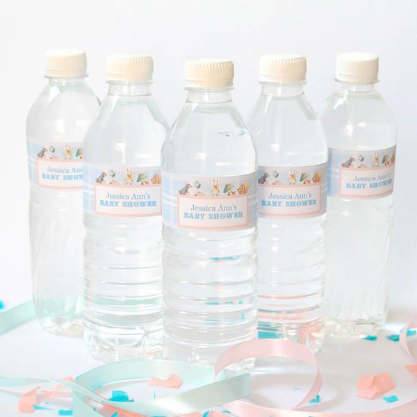 Peter Rabbit: Pastel Customized Water Bottle Labels First Birthday Party Supplies - AUSTRALIAN FAVORS