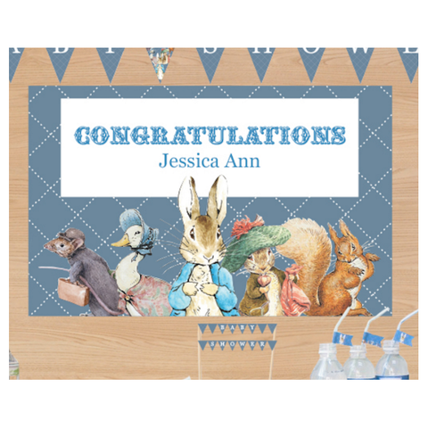 Peter Rabbit: Blue Personalised Giant Party Banner First Birthday Party Decoration - AUSTRALIAN FAVORS