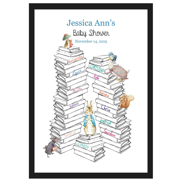 Peter Rabbit: Pastel Baby Shower 1st Birthday Personalised Guest Book Alternatives with Frame - AUSTRALIAN FAVORS