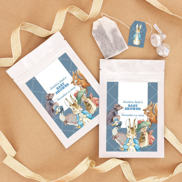 Peter Rabbit Baby Shower Personalised Tea Bag Favour - AUSTRALIAN FAVORS