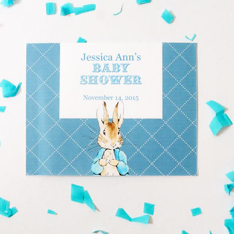 Peter Rabbit: Blue Personalised Baby Shower Party RSVP Response Card - AUSTRALIAN FAVORS