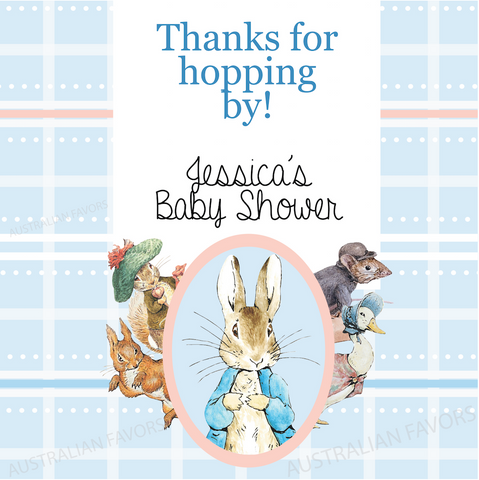 Peter Rabbit: Pastel Personalised Baby Shower Square Favour Thank You Tag & Sticker Label - AUSTRALIAN FAVORS