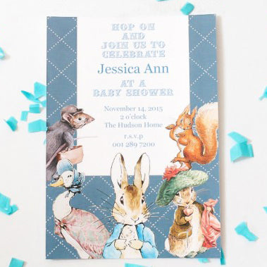Peter Rabbit Blue Personalized Baby Shower Invitation Card Bunny