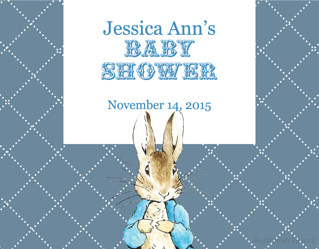 Australian Favors Peter Rabbit Baby Shower Ideas-Invitation Card, Banner, Guest Book