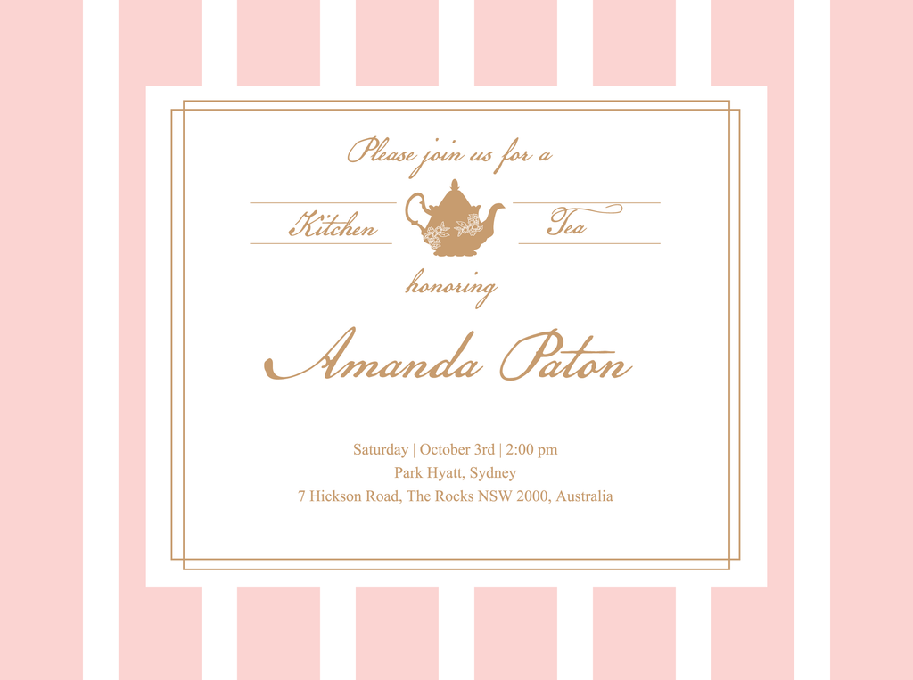 Lady Pink Kitchen Tea Bridal Shower Customized Invitation Card - AUSTRALIAN FAVORS