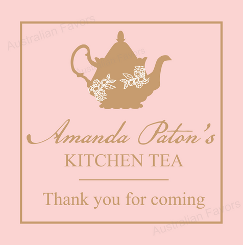 Lady Pink Bridal Shower  Kitchen Tea Thank You Favour Tag & Sticker - AUSTRALIAN FAVORS