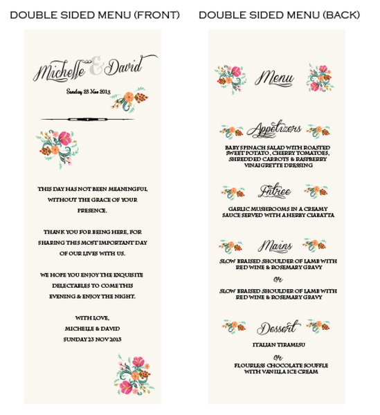 Pretty in Peach Botanica Customized Wedding Menu Card - AUSTRALIAN FAVORS