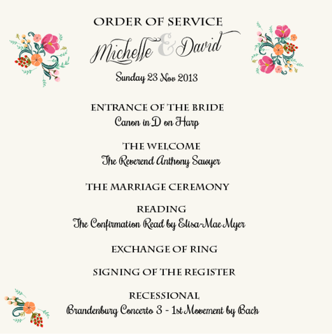 Pretty in Peach Botanica Wedding Order of Service - AUSTRALIAN FAVORS