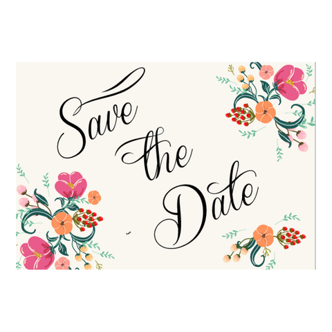 Pretty in Peach Botanica Wedding Save The Date Card - AUSTRALIAN FAVORS