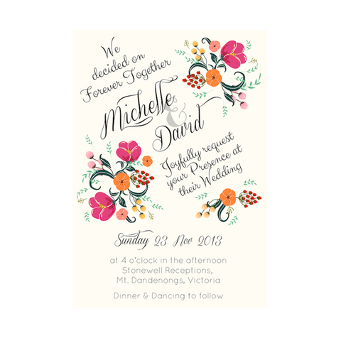 Pretty in Peach Botanica Wedding Invitation Cards - AUSTRALIAN FAVORS