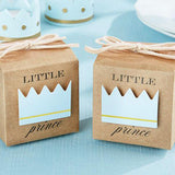 Little Prince Kraft Boy Baby Shower Christening Favour Boxes (10 Pcs)