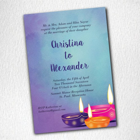 Purple Indian Candle Light Personalised Wedding Invitation Card