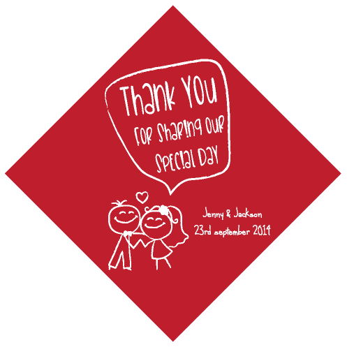 Sweethearts Red Personalised Wedding Thank You Tag & Sticker