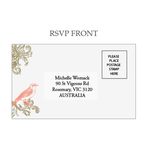 Regal Love Birds Wedding RSVP Reply Response Card - AUSTRALIAN FAVORS
