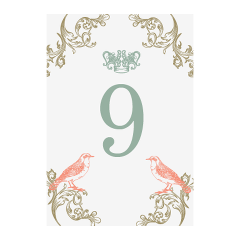 Regal Love Birds Wedding Table Number Stationery