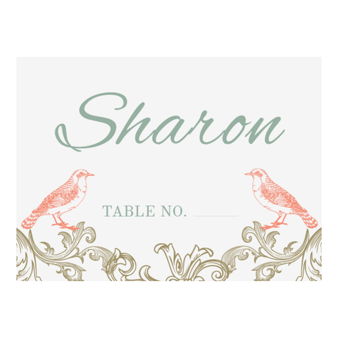 Regal Love Birds Personalised Garden Wedding Table Place Cards