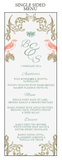 Regal Love Birds Guest's Wedding Table Menu - AUSTRALIAN FAVORS