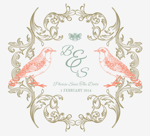 Regal Love Birds Save The Date Card Wedding Stationery