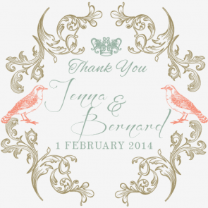 Regal Love Birds Personalised Wedding Favour Bomboniere Tag & Sticker