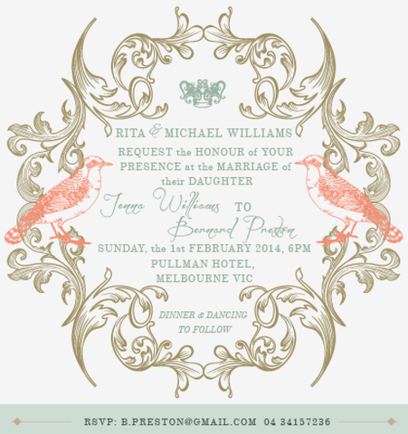Regal Love Birds Garden Wedding Invitation Card - AUSTRALIAN FAVORS