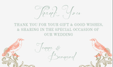 Regal Love Birds Wedding Thank You Card - AUSTRALIAN FAVORS