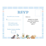 Peter Rabbit: Pastel Personalised Baby Shower Party RSVP Response Card - AUSTRALIAN FAVORS