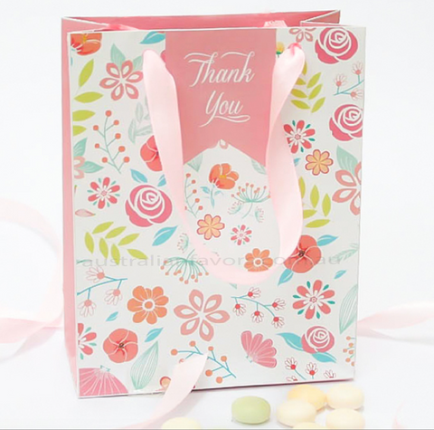 Vintage Florals Wedding Lolly Gift Favour Bags in Pink Ribbon Handle - 10 Pack