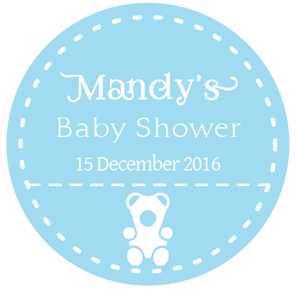 Blue Teddy Bear Boy's Baby Shower Favour Round Thank You Stickers - AUSTRALIAN FAVORS