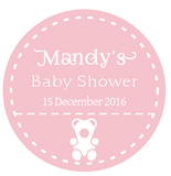 Pink Teddy Bear Girl's Baby Shower Customized Round Thank You Favour Sticker - AUSTRALIAN FAVORS