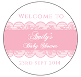 Pink Laces Girl Baby Shower Personalised Round Thank You Favour Sticker - AUSTRALIAN FAVORS