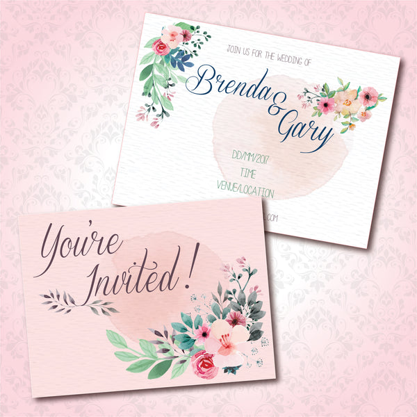 Spring Floral Watercolor Personalised Wedding Invitation Card