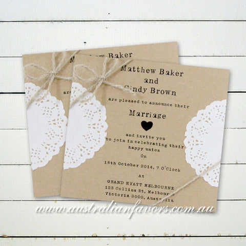 Square Kraft Rustic Wedding Invitation Card