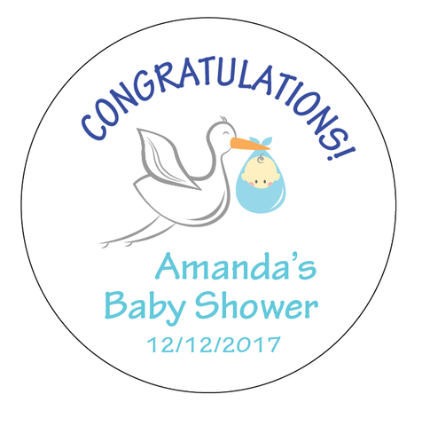Stork Delivery Baby Shower Customized Party Round Favour Sticker