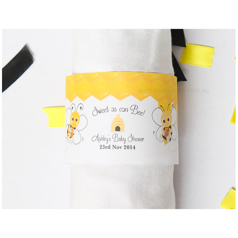 Mummy to Bee Bumblebee Baby Shower 1st Birthday Personalised Party Supplies Napkin Band - AUSTRALIAN FAVORS