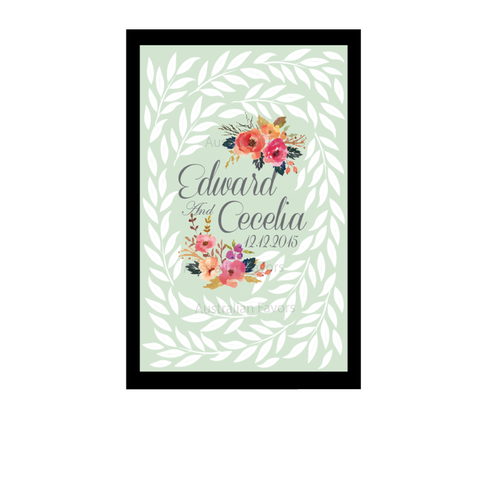 The Secret Garden Series Personalised Wedding Guest Book Alternative - Mint Green